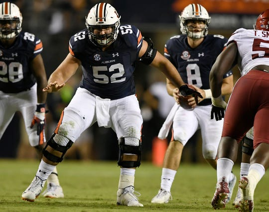 Auburn center Nick Brahms (52) during a game against Arkansas on Saturday, Sept. 22, 2018 in Auburn, Ala.