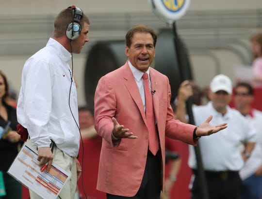 Apr 18, 2015; Tuscaloosa, AL, USA; Alabama Crimson Tide head coach Nick Saban and Alabama Crimson Tide wide receivers coach Billy Napier talk during the A-day game at Bryant Denny Stadium. Mandatory Credit: Marvin Gentry-USA TODAY Sports