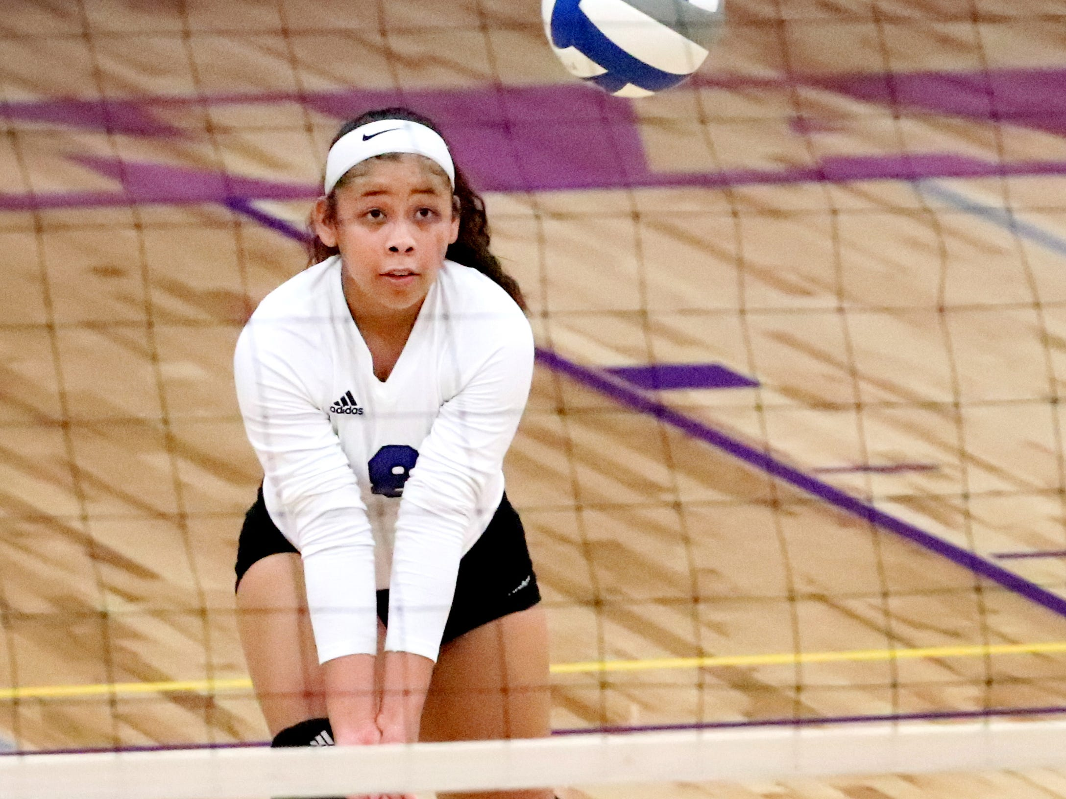 La Vergne's Lena Braun (8) bumps the ball against Smyrna at Smyrna, on Tuesday, Aug. 25 2018. Smyrna wins the match with a 3 game sweep.