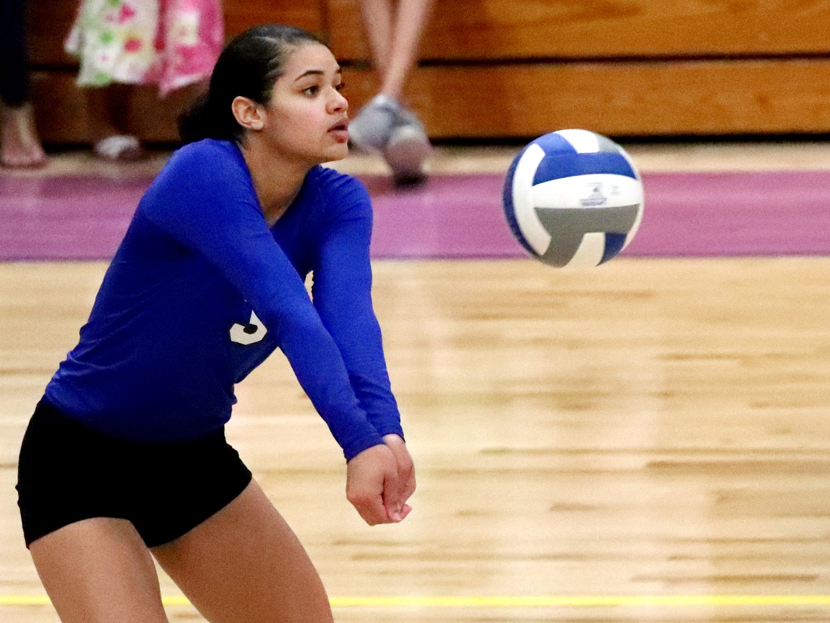 La VergneÕs Akasia Patterson (3) bumps the ball during a game against Smyrna at Smyrna, on Tuesday, Aug. 25 2018. Smyrna wins the match with a 3 game sweep.