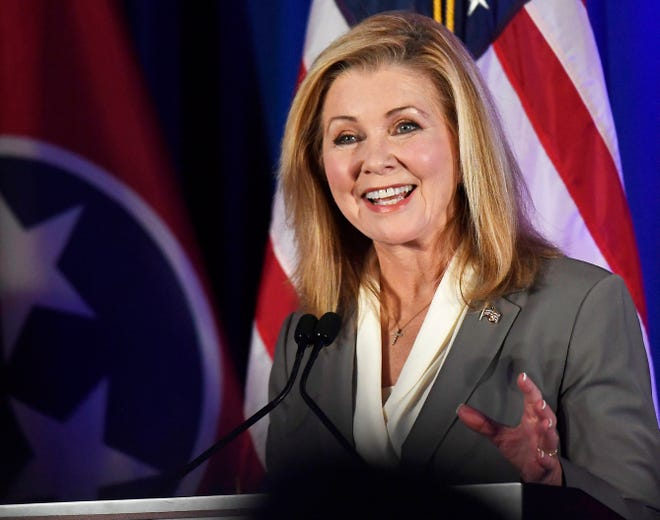 Republican candidate Marsha Blackburn speaks at the 2018 Tennessee U.S. Senate Debate at Cumberland University on Sept. 25 in Lebanon, Tenn.