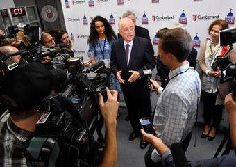 Phil Bredesen speaks with the press follow the U.S. Senate debate in Tennessee