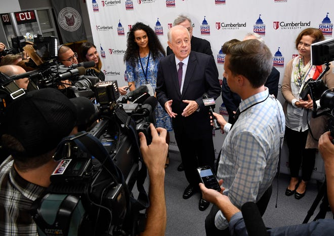 Phil Bredesen talks with the media after the 2018 Tennessee U.S. Senate Debate at Cumberland UniversityTuesday Sept. 25, 2018, in Lebanon, Tenn.