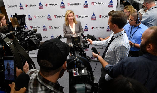 Republican Marsha Blackburn speaks to reporters after a Sept. 25 debate at Cumberland University.