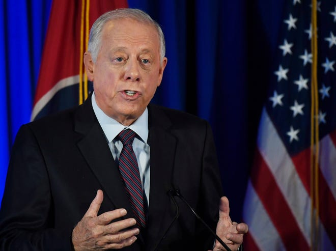 Democratic candidate Phil Bredesen speaks at the 2018 Tennessee U.S. Senate Debate at Cumberland University Tuesday, Sept. 25, 2018, in Lebanon, Tenn.