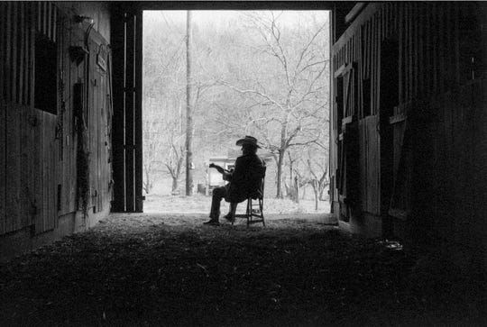 "This image of Bill Monroe shot in 1995 in Goodlettsville by Marty Stuart is featured in the ""Guitars and Cadillacs"" exhibit at the Monthaven Arts and Cultural Center."