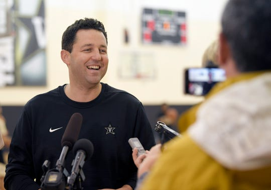 Vanderbilt Men's Basketball coach Bryce Drew talks with media during first day of open practice on Wednesday, Sept. 26, 2018.