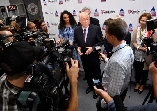 Phil Bredesen talks with the media after the U.S. Senate debate at Cumberland University in Lebanon on Tuesday, Sept. 25, 2018.