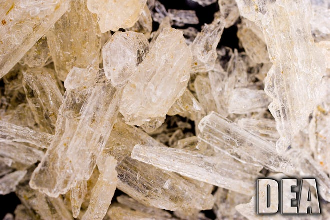 Meth crystals are shown in this DEA file photo.