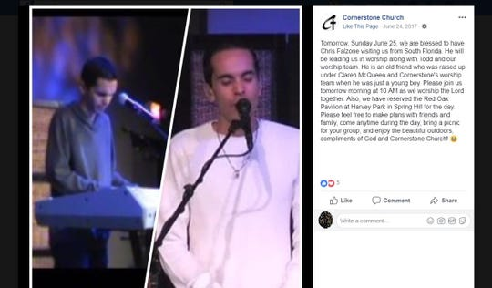 A screengrab of Chris Falzone participating in worship at Cornerstone Church in Spring Hill.