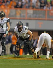 Vanderbilt left tackle Justin Skule lines down during a 42-24 win over Tennessee on Nov. 25, 2017.