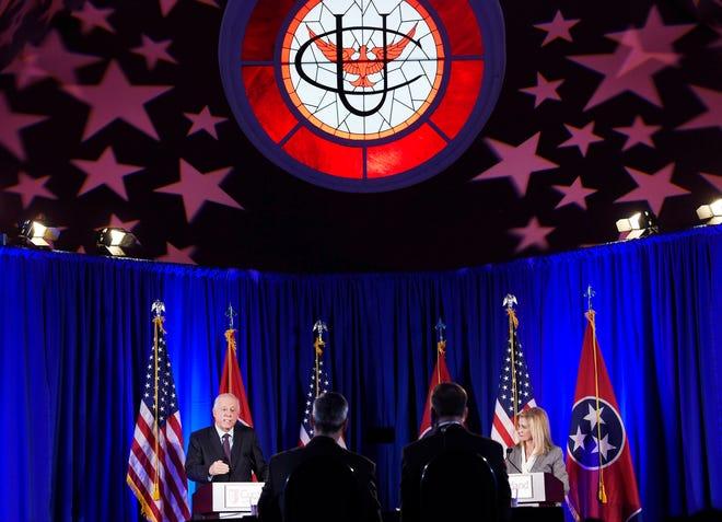 Democratic Phil Bredesen and Republican Marsha Blackburn speak during a U.S. Senate debate at Cumberland University in Lebanon on Tuesday, Sept. 25, 2018.