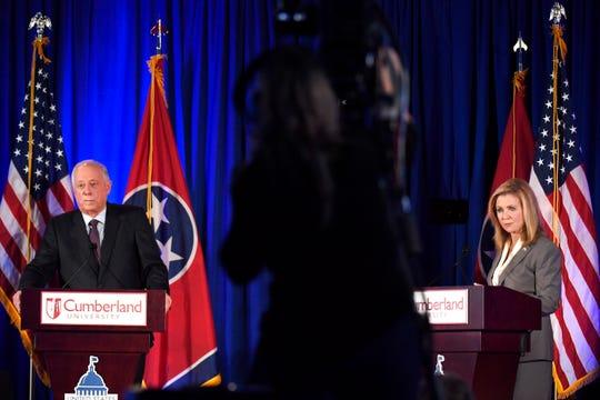 Democratic candidate Phil Bredesen and Republican candidate Marsha Blackburn speak at the 2018 Tennessee U.S. Senate Debate at Cumberland University Tuesday, Sept. 25, 2018, in Lebanon, Tenn.