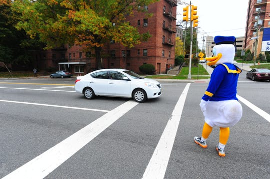 Fort Lee Detective Edward Young dressed as Donald Duck in 2014 to catch drivers who failed to stop for pedestrians on Hudson Terrace in Fort Lee.