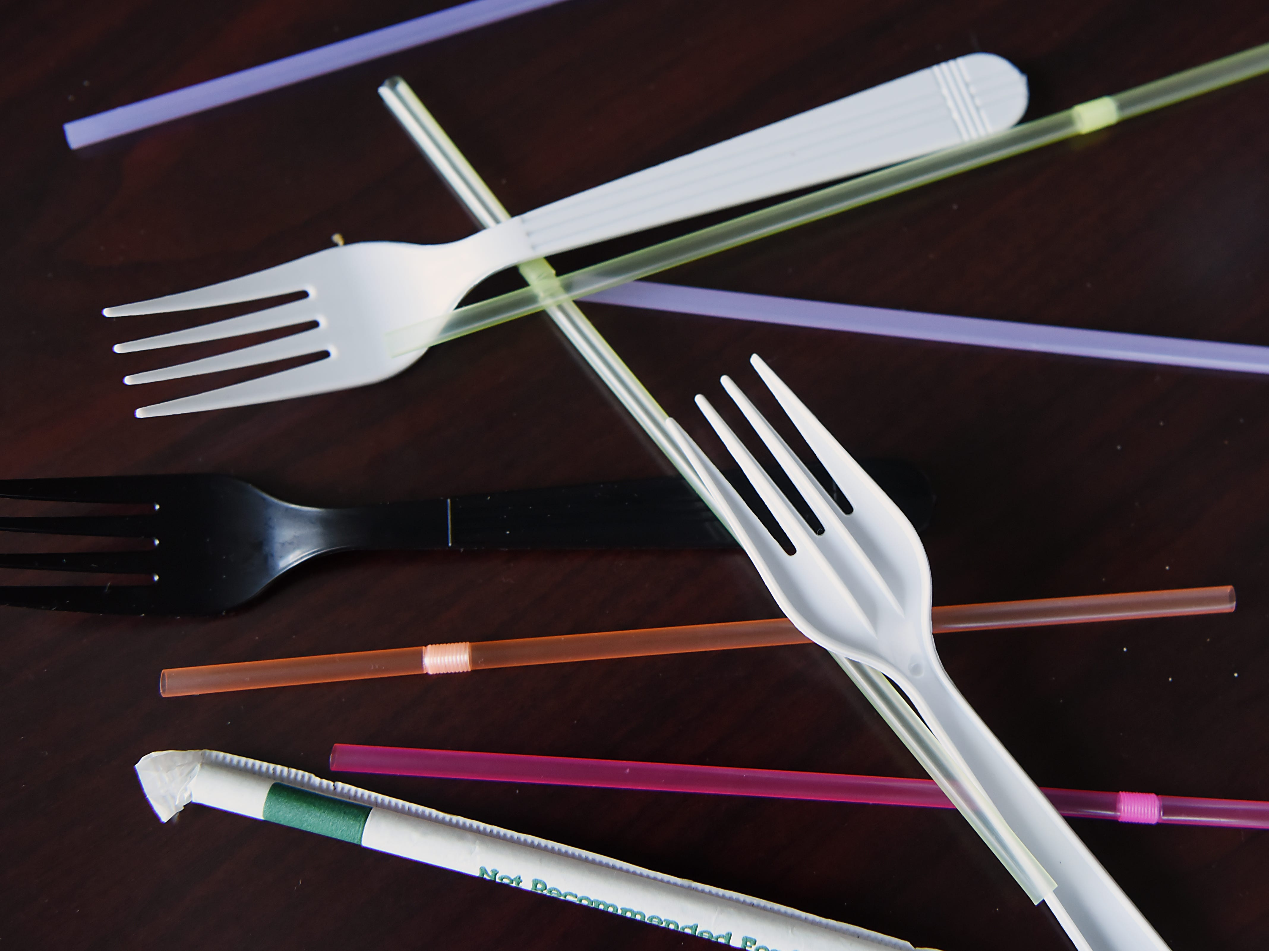 Plastic cutlery and straws can't be recycled. Shown in the NorthJersey.com offices in Woodland Park on Wednesday September 26, 2018.