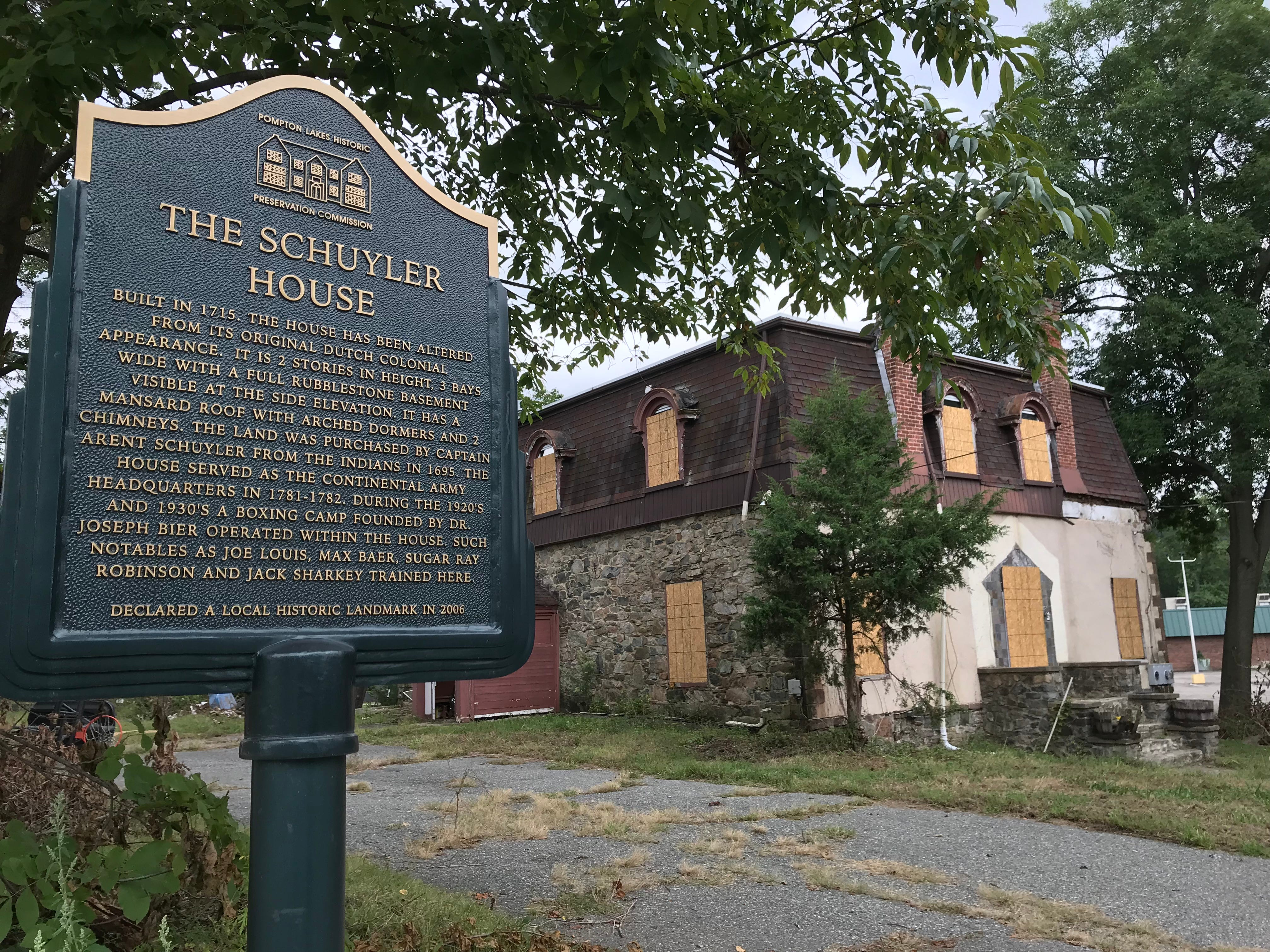 The Schuyler House in Pompton Lakes has been boarded up by its bank owners. Built in 1715, the home seen on Sept. 17, 2018 once served as the center of a training camp frequented by Joe Louis and others.