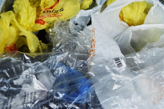 Most plastic bags can be recycled as long as they are clean, dry and free of any labels. A bunch of bags shown in the NorthJersey.com offices in Woodland Park on Wednesday September 26, 2018.