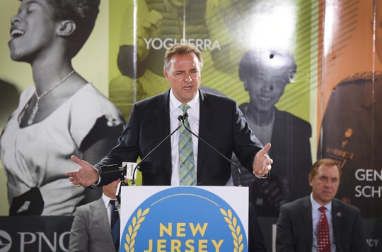 Former pitcher Al Leiter, Hall of Fame member, speaks during the groundbreaking ceremony for the New Jersey Hall of Fame at the site of the new American Dream complex in East Rutherford on 09/26/18.