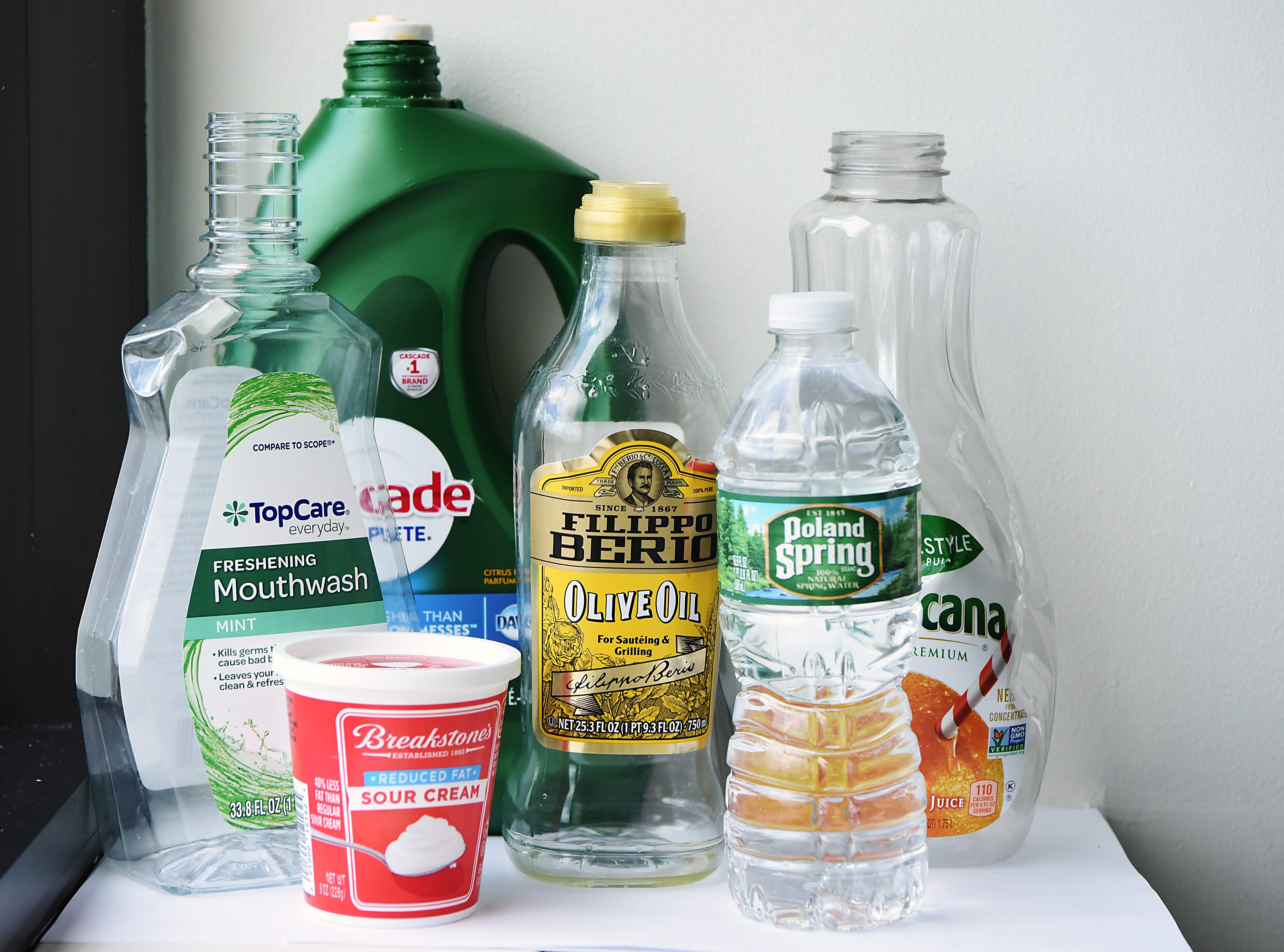 The plastic bottles shown can recycled as long as they are clean and without lids. Shown in the NorthJersey.com offices in Woodland Park on Wednesday September 26, 2018.