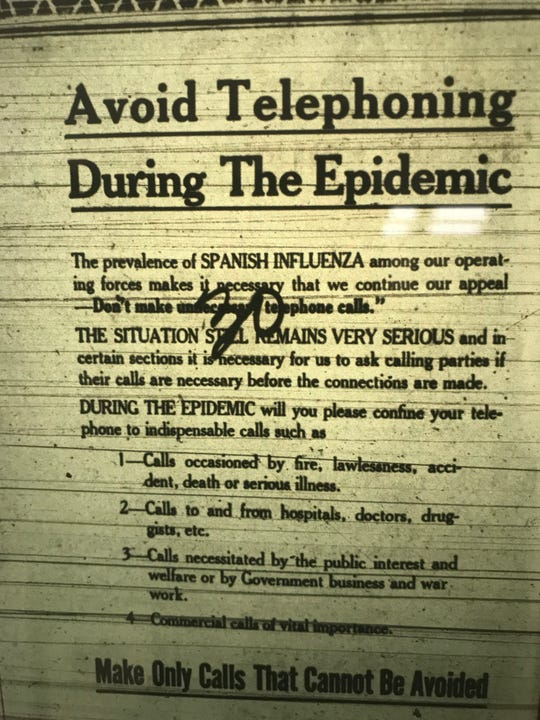 This is a public service announcement in the Bergen Evening Record about using the phone while the 1918 Flu Pandemic was at its peak in Northern New Jersey during the fall of that year.