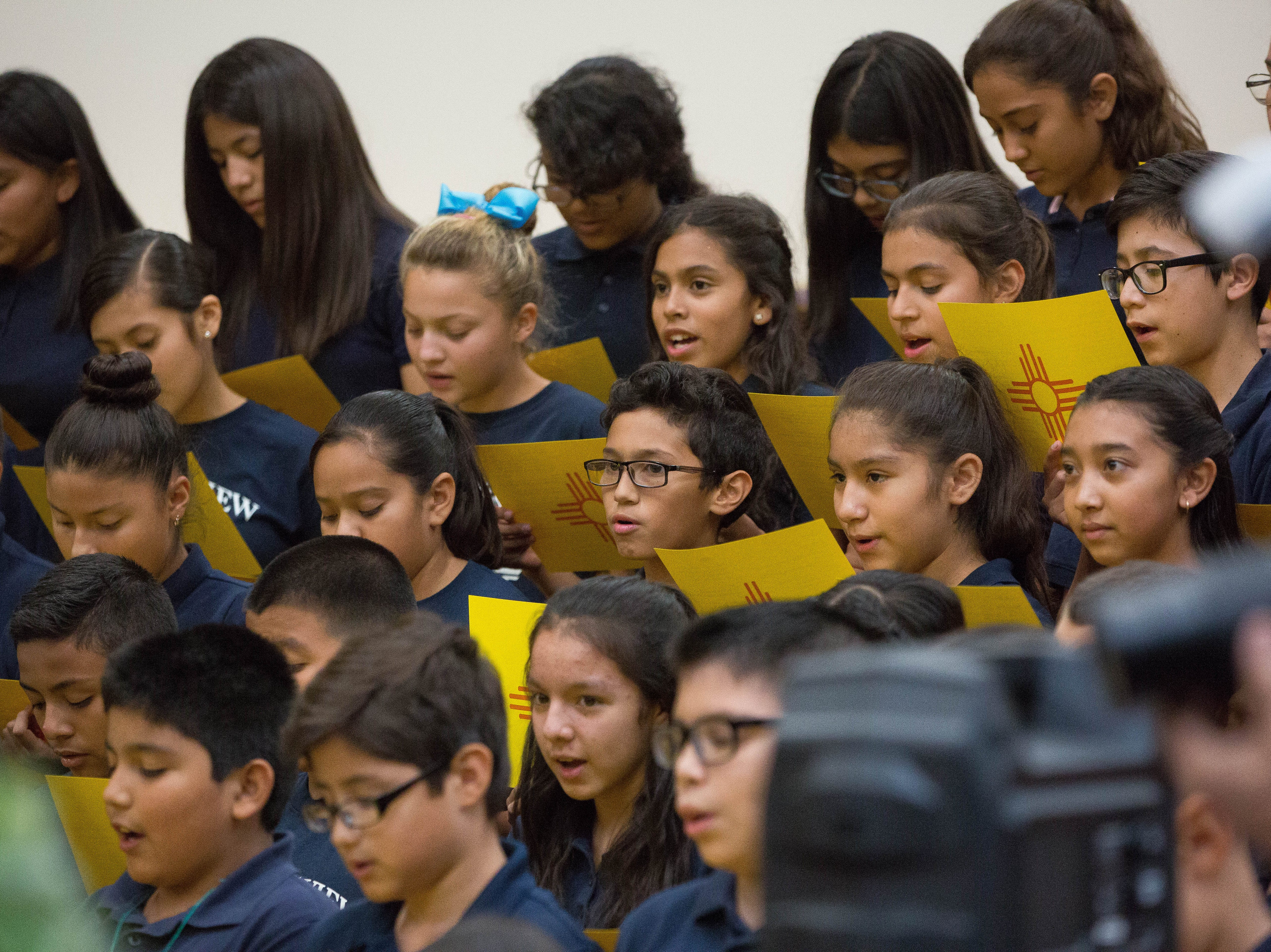 "Sixth Graders at Desert View Elementary School in Sunland Park sing ""Los Colores"" during a celebration for the school getting an A grade from the Public Education Department, Wednesday September 26, 2018."