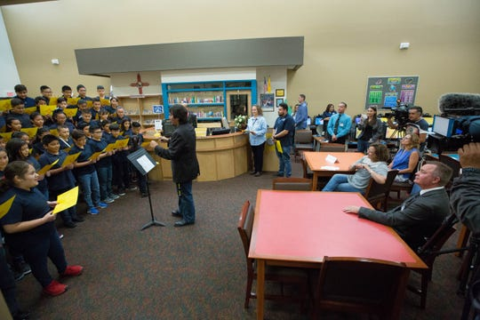 Susana Martinez, governor of New Mexico, listens to sixth grade students performing music at the  Desert View Elementary School  School Library in Sunland Park, where she joined  the students and staff in celebrating getting A grades from the Public Education Department, Wednesday September 26, 2018.