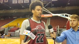 New Mexico State forward Eli Chuha on the first day of Aggies practice Tuesday at the Pan American Center.
