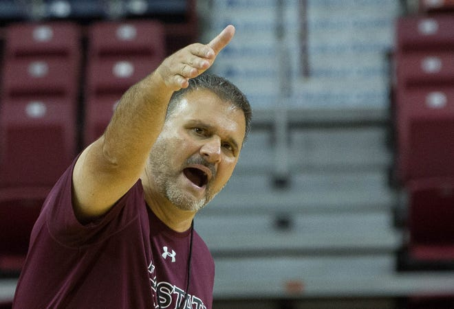 New Mexico State men's basketball coach Chris Jans during the first day of official practice on Sept. 25 at the Pan American Center.