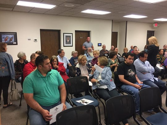 Members of the public gather for a special meeting Sept. 26, 2018 of the Carlsbad Municipal School board.  It was standing room only in the board room.