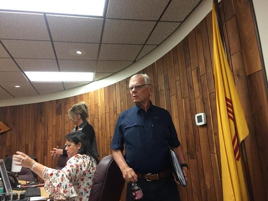 Carlsbad Municipal School Board member Ron Singelton gets ready to join other board members in executive session during a special meeting Sept. 26, 2018. No action was taken once the closed door meeting ended.