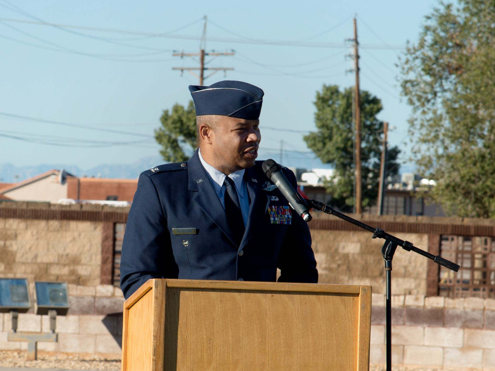 Col. Brian Patterson, 49th Wing vice commander, speaks at the POW/MIA ceremony at Heritage Park on Holloman Air Force Base, N.M., Sept. 21. The ceremony, in rememberance of prisoners-of-war and those still missing-in-action, was part of Holloman's POW/MIA commemoration.