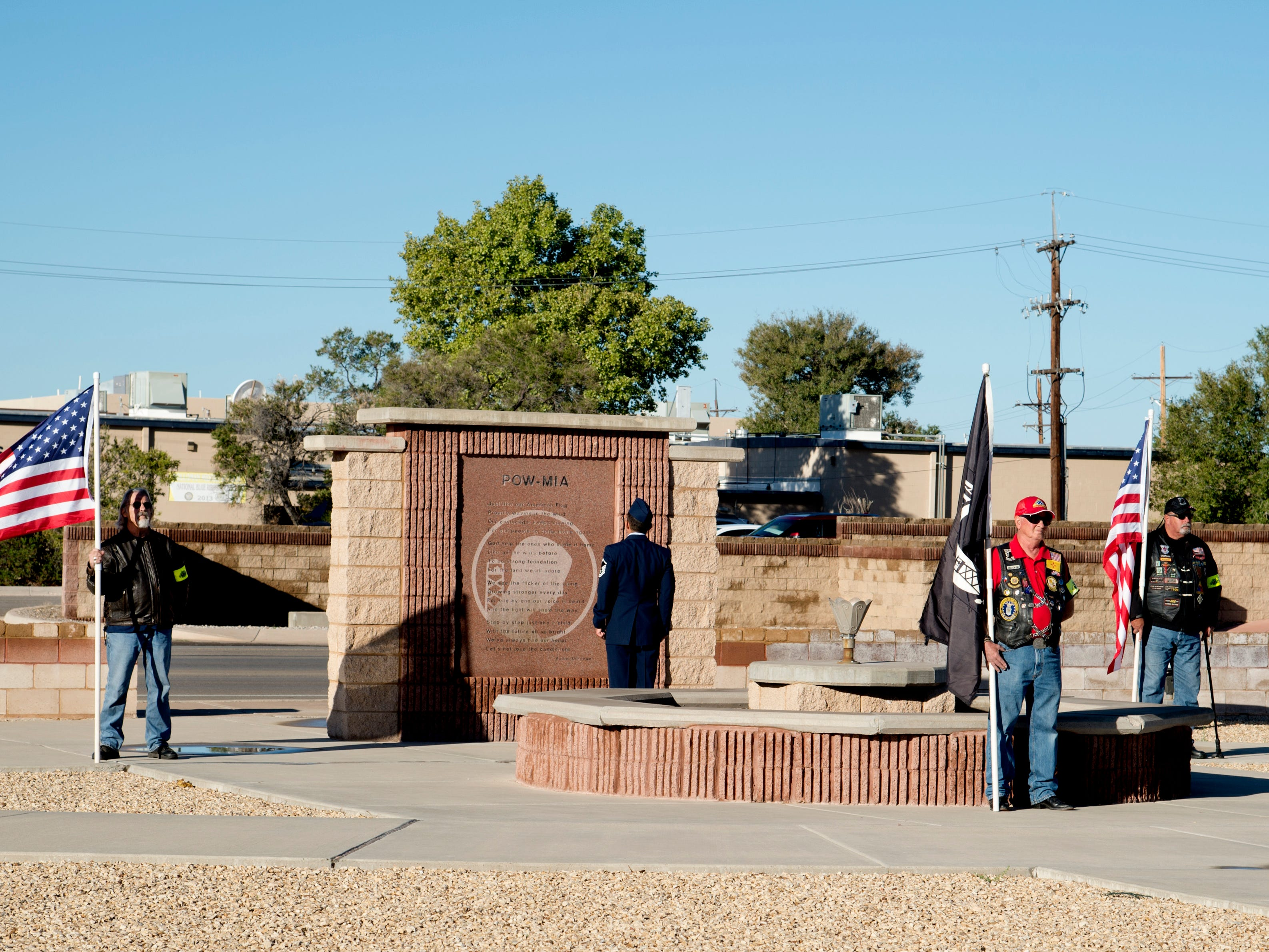 Local Alamogordo veterans post the colors in front of the POW/MIA memorial at Heritage Park on Holloman Air Force Base, N.M., Sept. 21. The ceremony, in rememberance of prisoners-of-war and those still missing-in-action, was part of Holloman's POW/MIA commemoration.