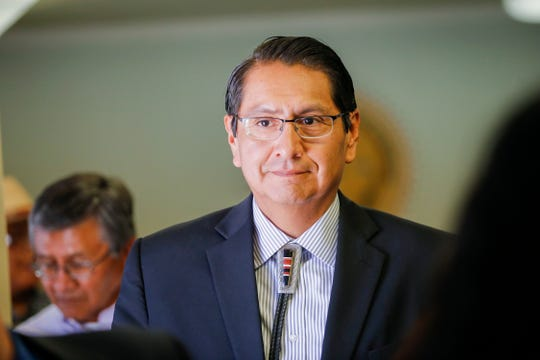 Navajo Nation Vice President Jonathan Nez leaves his hearing after it was determined he is qualified to run for the tribal presidency Wednesday at the Navajo Nation Office of Hearings and Appeals in Window Rock, Ariz.