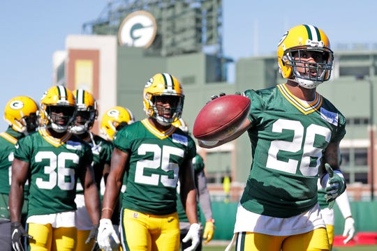 Green Bay Packers cornerback Bashaud Breeland (26) participates in ball drills at practice at Clarke Hinkle Field on Wednesday, September 26, 2018 in Ashwaubenon, Wis.