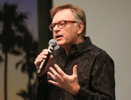 """Bill Graber speaks during the Coachella Valley Storytellers Project """"Permanent Changes"""" at UCR Palm Desert, September 25, 2018."""