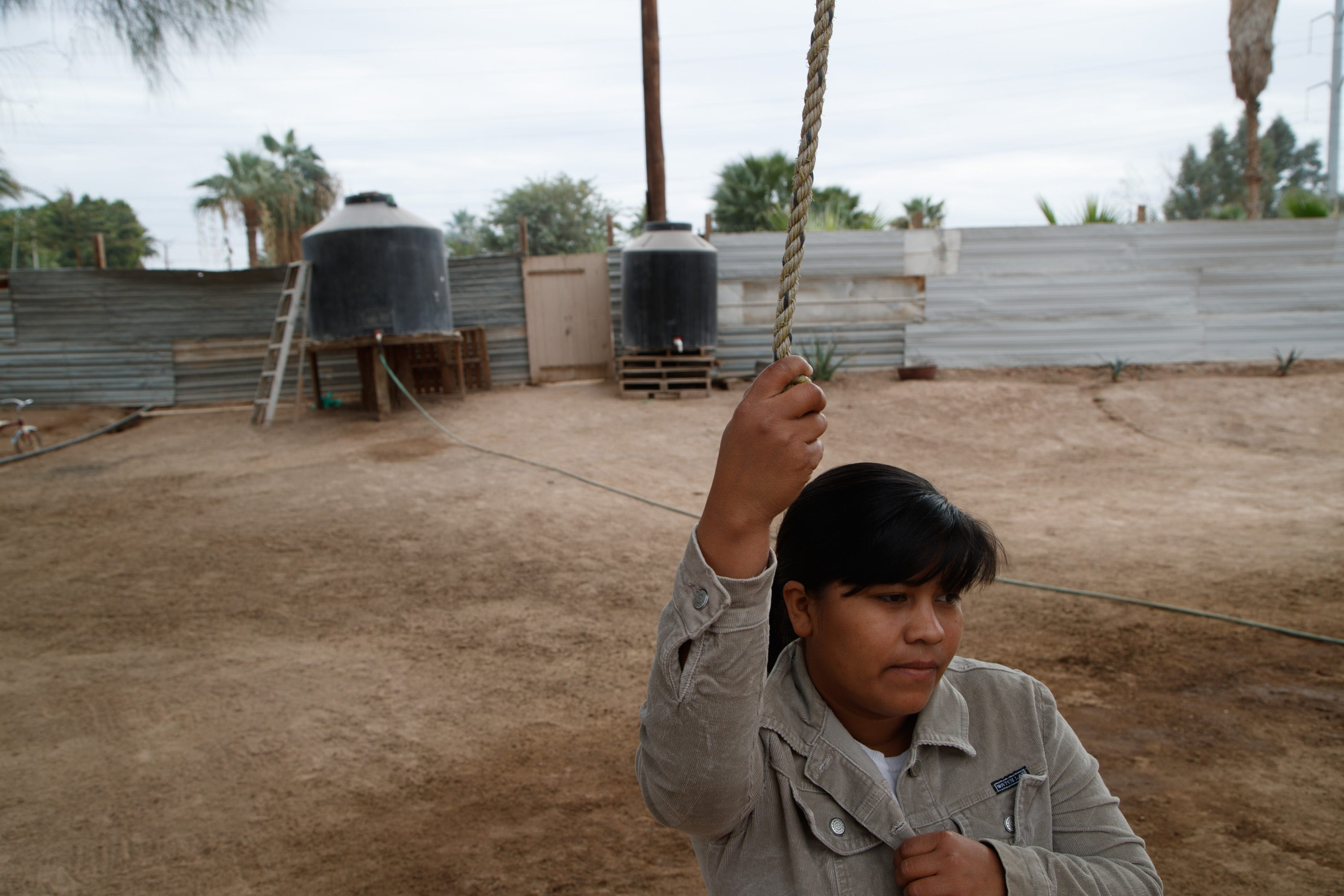 Yojana Núñez Ramírez lives with her husband and their 2-year-old daughter, Fernanda, on a small farm next to the Industrias Zahori factory in Mexicali.