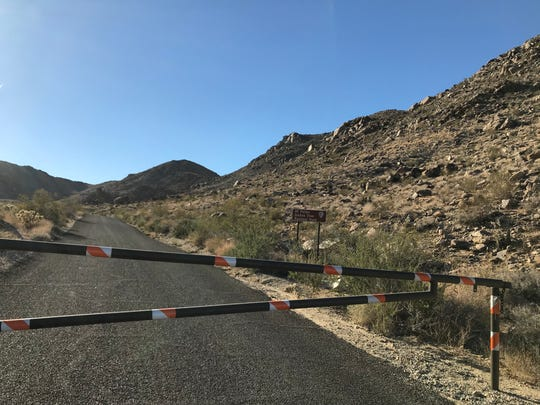 The road to 49 Palms Oasis trail in Joshua Tree National Park was closed Tuesday morning, Sept. 26, 2018, as search efforts continued for Paul Miller, a hiker from Canada missing since July 13, 2018.