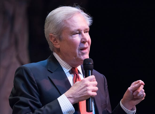 James Fallows, an award-winning author and 35-year correspondent for The Atlantic, discusses what he learned during his five-year, 100,000-mile journey across America during a CivicCon presentation at the Pensacola Little Theatre Sept. 9, 2018. Fallows found that there are 10.5 indicators of a thriving town