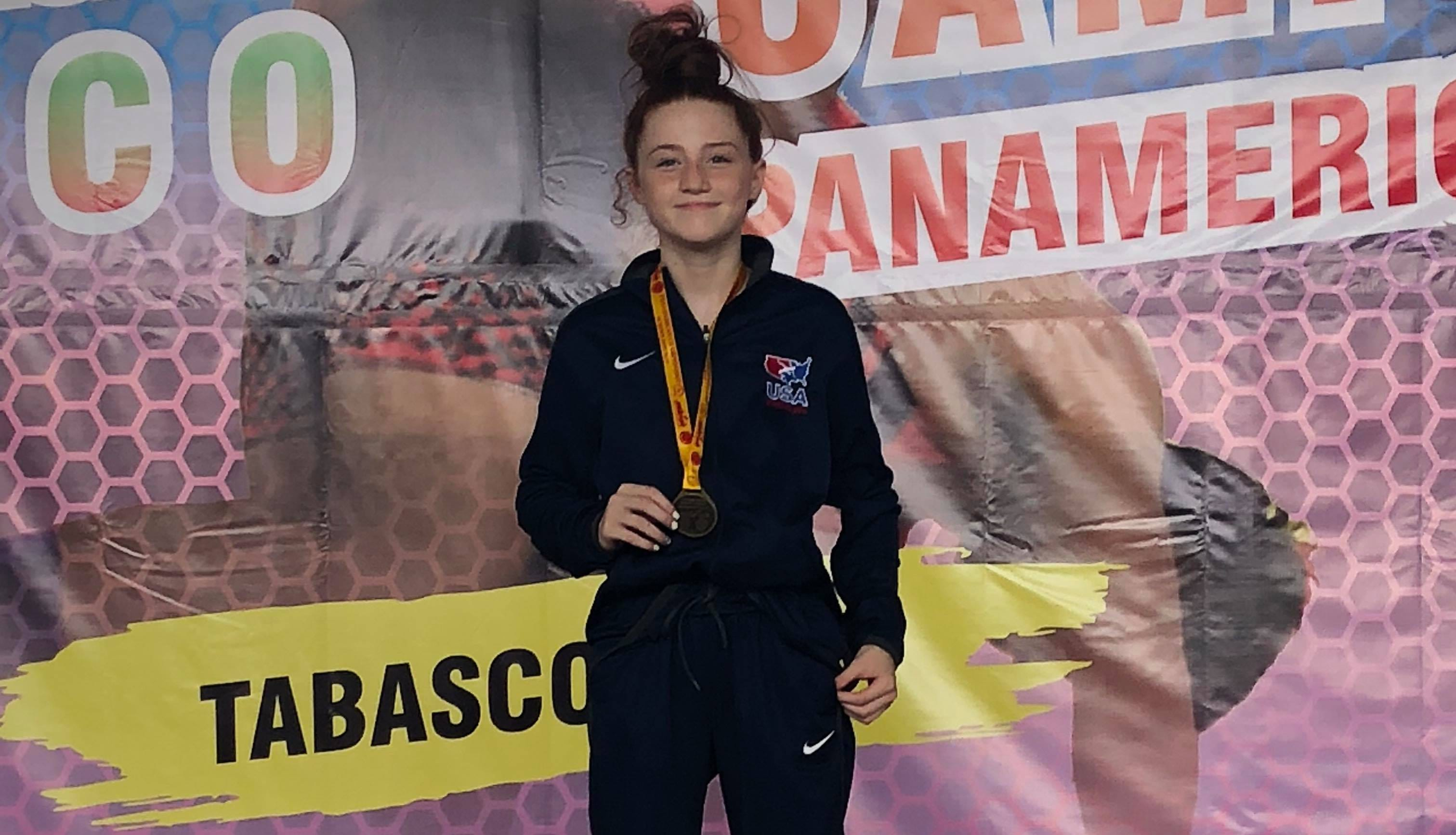 Maddi Wellen poses with her gold medal that she earned at the Pan American U15 Girls freestyle wrestling championships held in Villahermosa, Mexico on Sept. 14, 2018.
