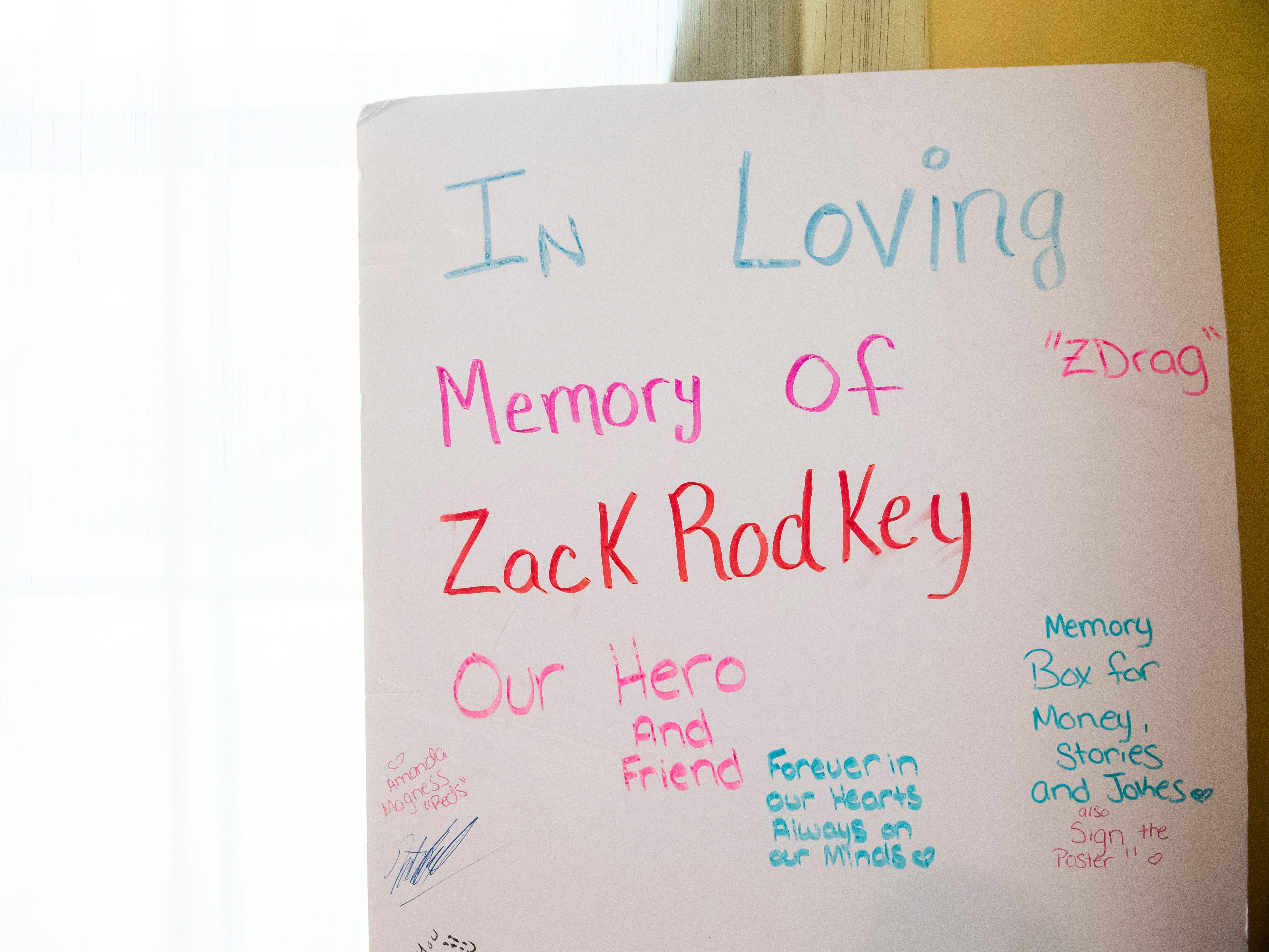A poster made by a friend of Zackery Rodkey sits against a window at his mother's house in Heidelberg Township September 26, 2018.