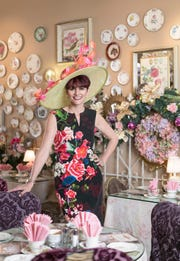 Owner Jo Gemmill inside English Rose Tea Room in Carefree.