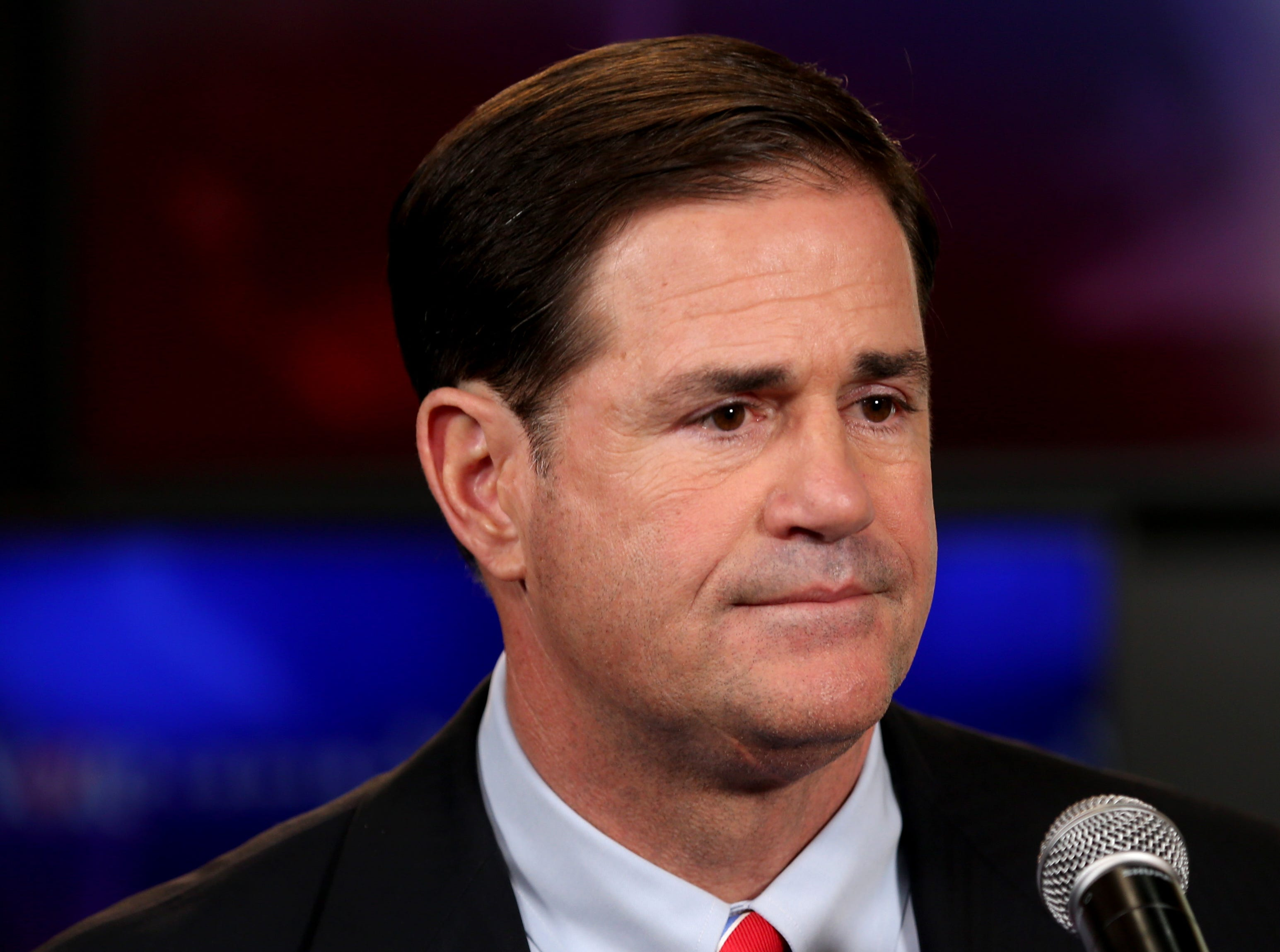 Gubernatorial candidate Republican Doug Ducey gives a few remarks to the press following a televised debate in the AZPM studios, Tuesday, Sept. 25, 2018, in Tucson.