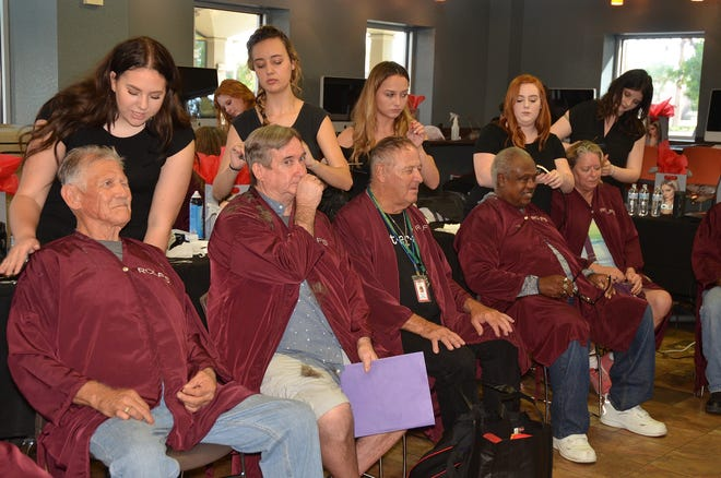Veterans getting free haircuts at a past Stand Up for Veterans event in Glendale.