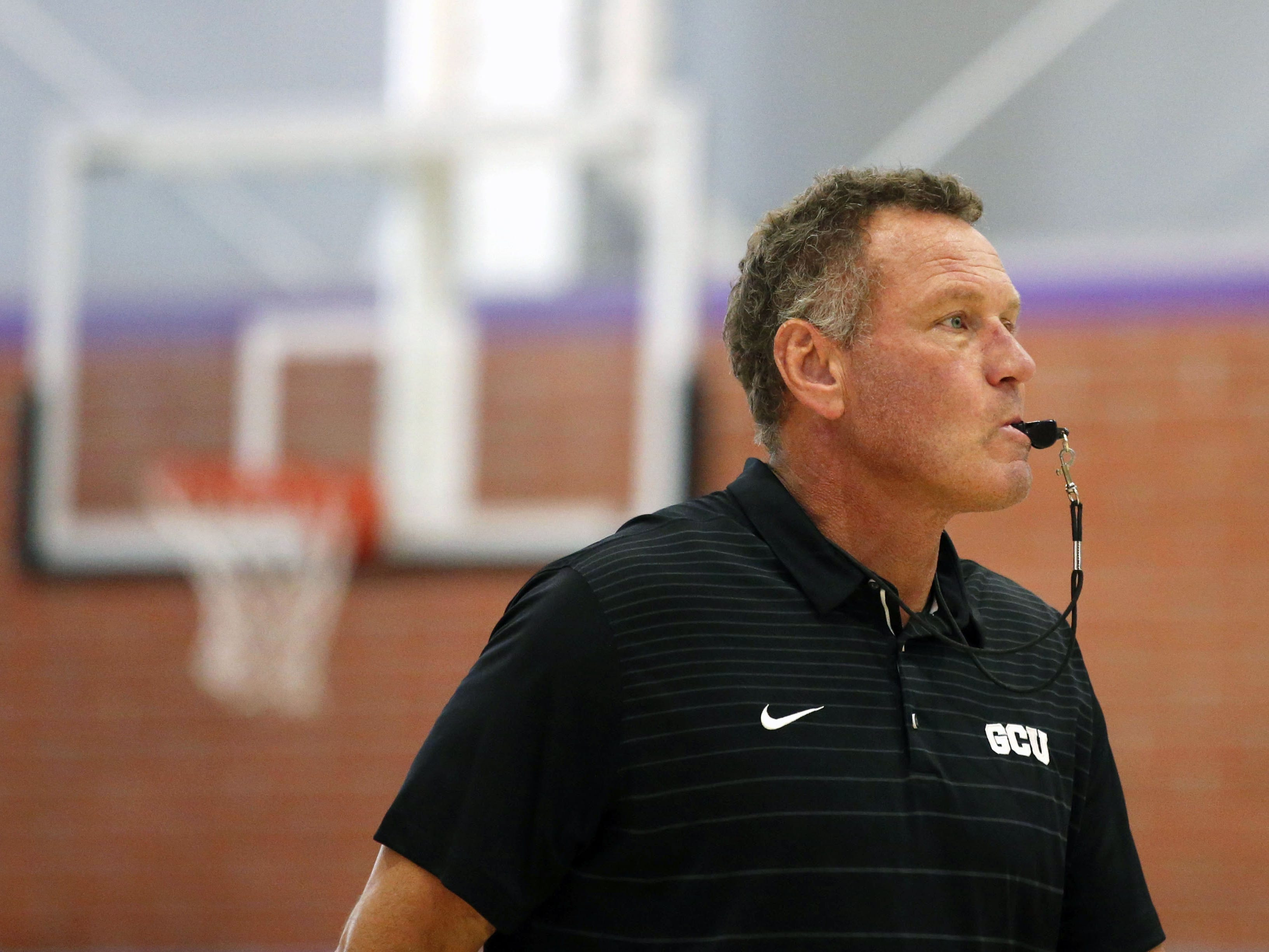 Grand Canyon University head basketball coach Dan Majerle instructs his team during practice in the gym in Phoenix on September 26, 2018.