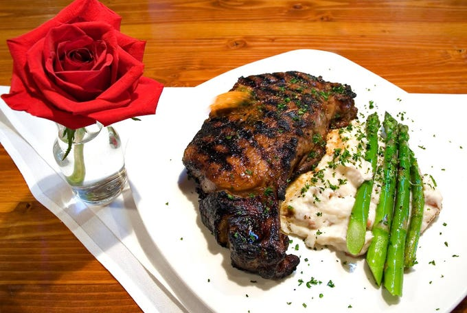 Filet mignon with asparagus and mashes potatoes at Venues Cafe in Carefree.