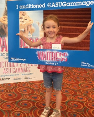 """Four-year-old Azra Kearns celebrates her successful audition for """"Waitress"""" at ASU Gammage on Sept. 6, 2018."""