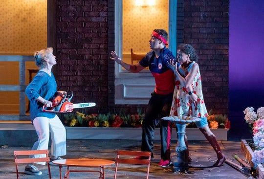 """Robynn Rodriguez, Keith Contreras and Arlene Chico-Lugo in Arizona Theatre Company's """"Native Gardens."""""""