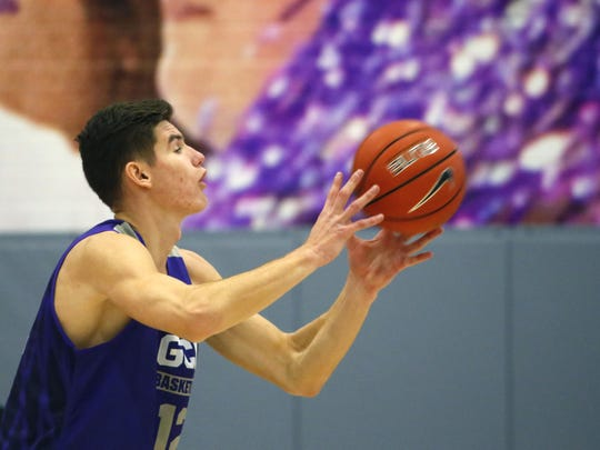 Grand Canyon University's Roberts Blumbergs passes the ball during practice in the gym in Phoenix on September 26,  2018.