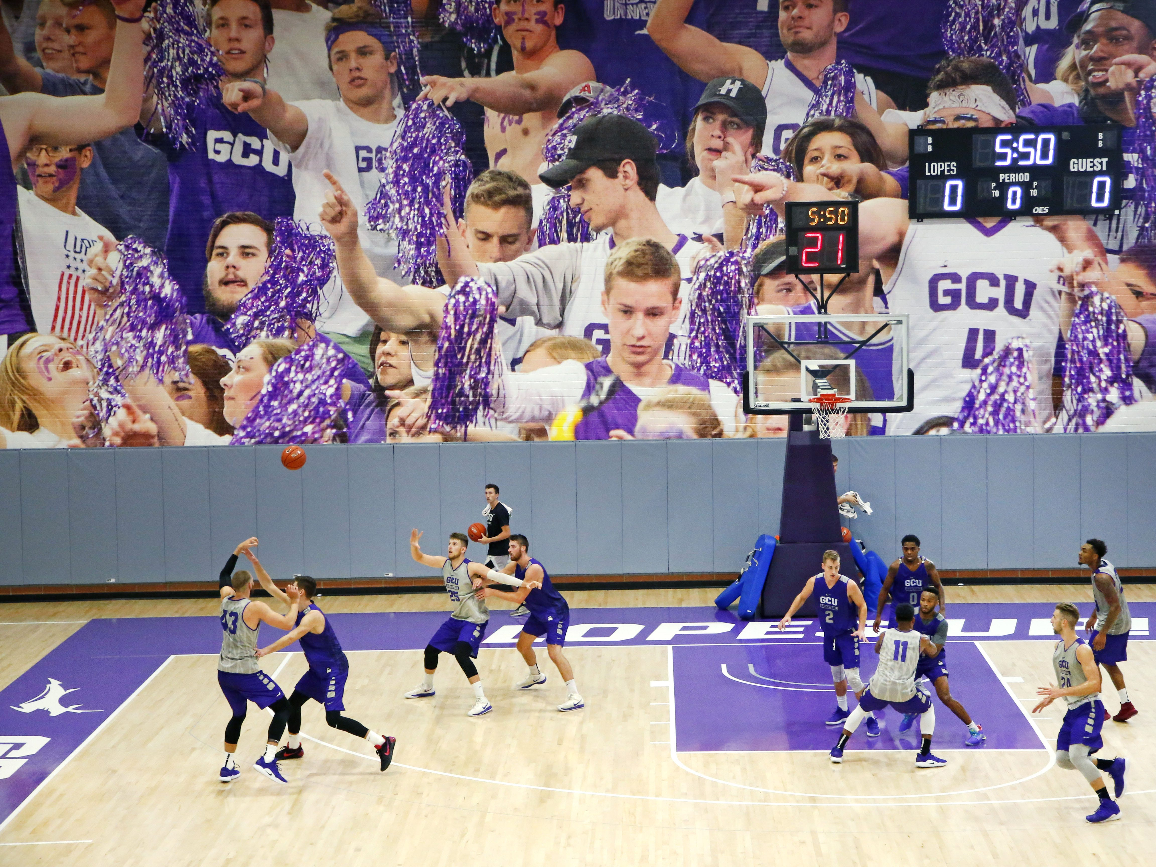 Grand Canyon University's basketball team practices in the gym in Phoenix on September 26,  2018.