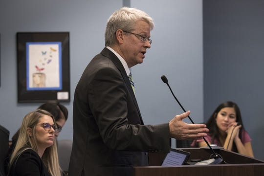 Rep. Eddie Farnsworth answers questions during an Arizona State Board for Charter Schools meeting on Sept. 10, 2018.